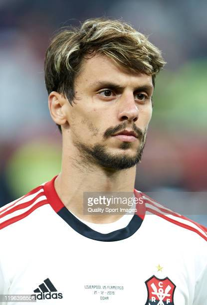 Rodrigo Caio of CR Flamengo looks on prior to the FIFA Club World Cup Qatar 2019 Final match between Liverpool FC and CR Flamengo at Khalifa...