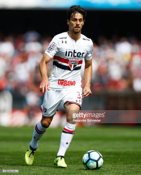 Rodrigo Caio of Sao Paulo in action during the match between Sao Paulo and Cruzeiro for the Brasileirao Series A 2017 at Morumbi Stadium on August 13...