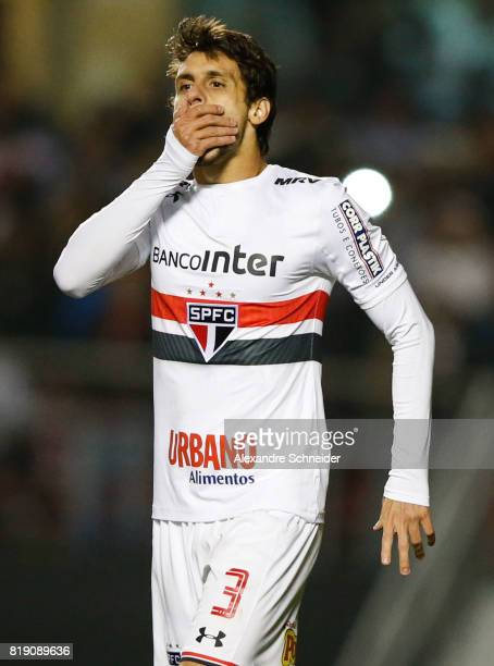 Rodrigo Caio of Sao Paulo reacts during the match between Sao Paulo and Vasco for the Brasileirao Series A 2017 at Morumbi Stadium on July 19 2017 in...