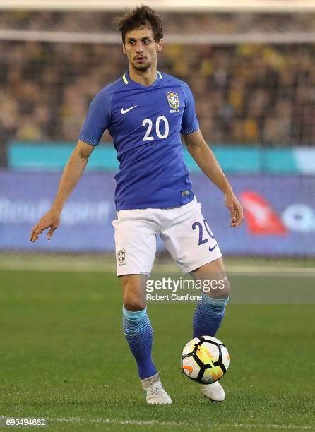 Rodrigo Caio Russo of Brazil during the Brasil Global Tour match between Australian Socceroos and Brazil at Melbourne Cricket Ground on June 13 2017...