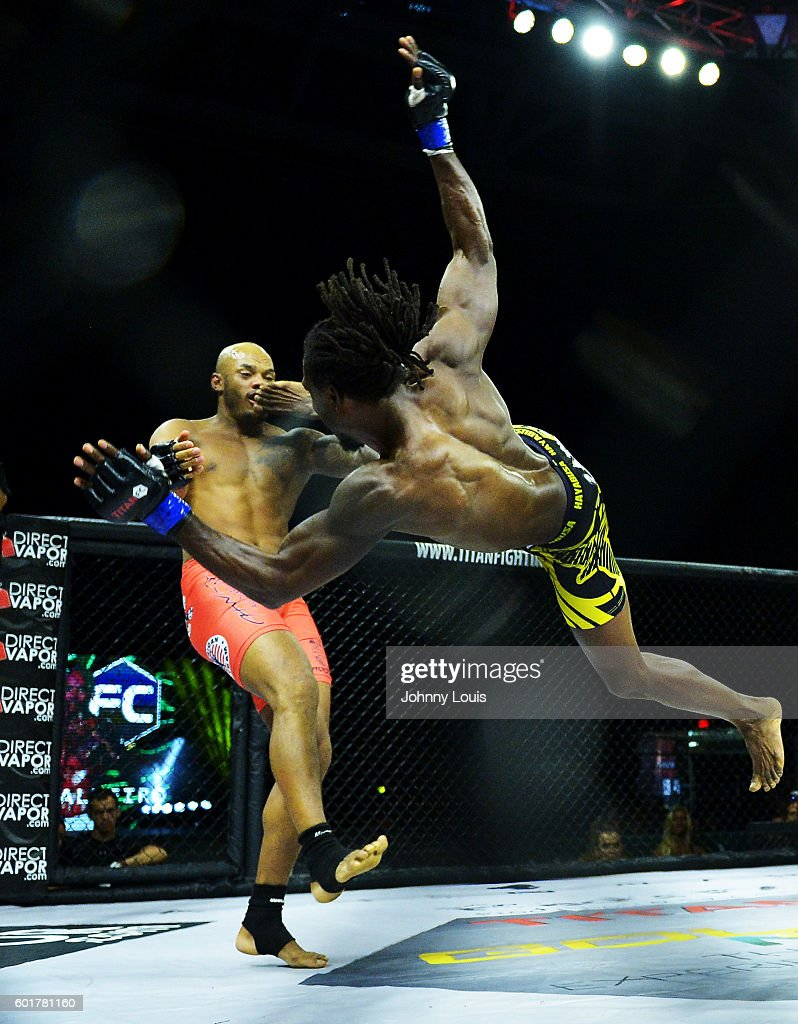 Rodrigo Cavalheiro fight Jason Jackson in their Welterweight bout during the TITAN FC41 UFC fight event at Bank United Center on September 9, 2016 in Miami, Florida.