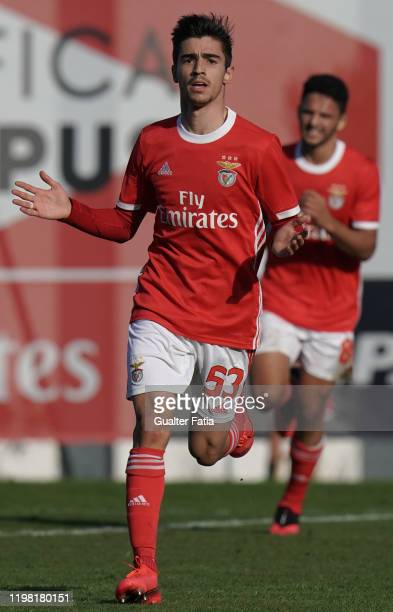 Rodrigo Conceicao of SL Benfica B celebrates after scoring a goal during the Liga Pro match between SL Benfica B and UD Vilafranquense at Benfica...
