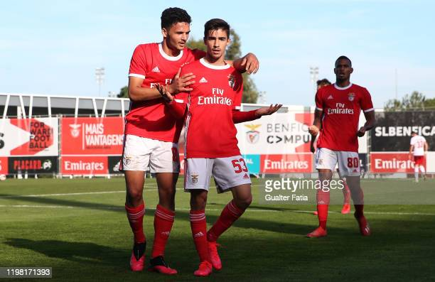 Rodrigo Conceicao of SL Benfica B celebrates with teammate Goncalo Ramos of SL Benfica B after scoring a goal during the Liga Pro match between SL...