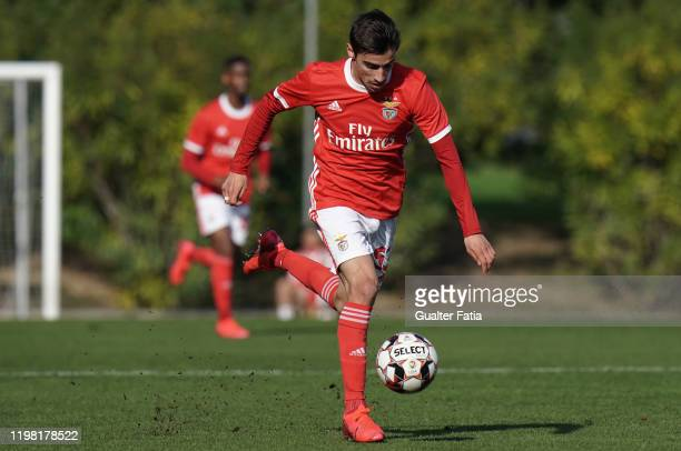 Rodrigo Conceicao of SL Benfica B controls the ball during the Liga Pro match between SL Benfica B and UD Vilafranquense at Benfica Campus on...