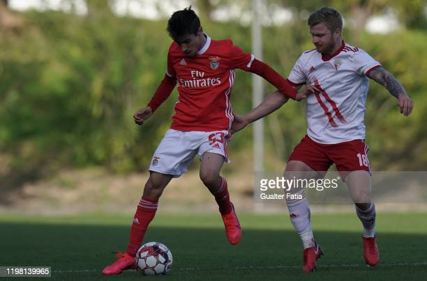 Rodrigo Conceicao of SL Benfica B with Nikita Korzun of UD Vilafranquense in action during the Liga Pro match between SL Benfica B and UD...