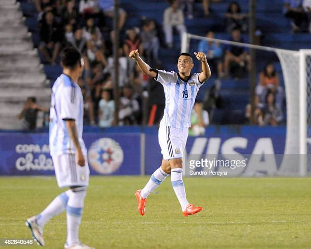 Rodrigo Contreras of Argentina celebrates after scoring the second goal of his team during a match between Argentina and Brazil as part of South...