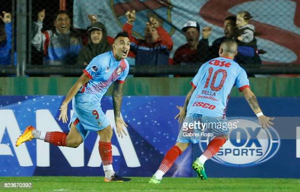 Rodrigo Contreras of Arsenal celebrates after scoring the second goal of his team during a second leg match between Arsenal and Sport Recife as part...