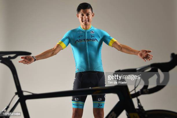 Rodrigo Contreras of Colombia and Astana Pro Team / Argon 18 Bike / Silhouette / Detail view / on December 17 2018 in Altea Spain