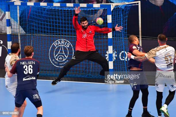 Rodrigo Corrales of PSG makes a save during the Lidl StarLigue match between Paris Saint Germain and Aix at Salle Pierre Coubertin on May 16 2018 in...