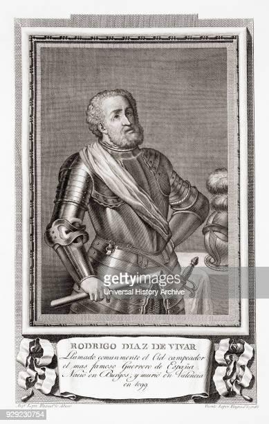 Rodrigo Díaz de Vivar c1040 – 1099 aka El Cid El Campeador or Rodrigo Castilian nobleman and military leader in medieval Spain After an etching in...