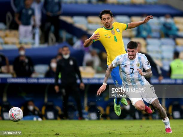 Rodrigo De Paul of Argentina competes for the ball with Marquinhos of Brazil ,during the Final Match of Copa America Brazil 2021 between Brazil and...