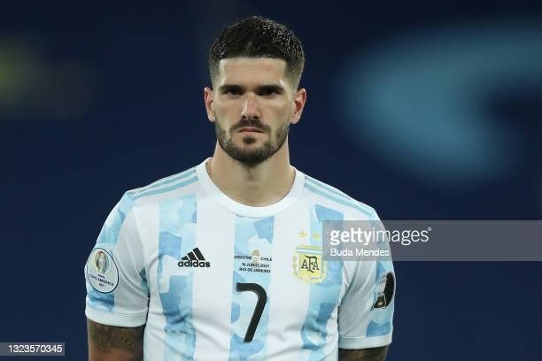 Rodrigo De Paul of Argentina looks on before a Group A match between Argentina and Chile at Estadio Olímpico Nilton Santos as part of Copa America...