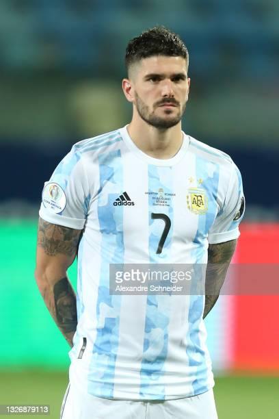 Rodrigo De Paul of Argentina looks on prior to a quarter-final match of Copa America Brazil 2021 between Argentina and Ecuador at Estadio Olimpico on...