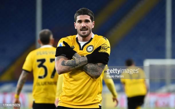 Rodrigo De Paul of Udinese Calcio celebrates after score first goal during the Serie A match between UC Sampdoria and Udinese Calcio at Stadio Luigi...