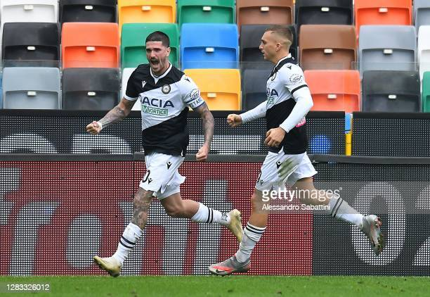 Rodrigo de Paul of Udinese Calcio celebrates after scoring the 1-1 goal during the Serie A match between Udinese Calcio and AC Milan at Dacia Arena...