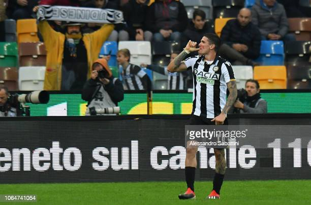 Rodrigo De Paul of Udinese Calcio celebrates after scoring the opening goal during the Serie A match between Udinese and AS Roma at Stadio Friuli on...