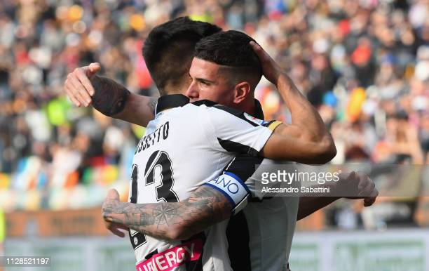 Rodrigo De Paul of Udinese Calcio celebrates after scoring the opening goal with Ignacio Pussetto of Udinese Calcio during the Serie A match between...