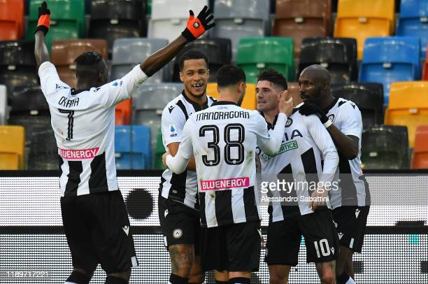 Rodrigo De Paul of Udinese Calcio celebrates after scoring the opening goal during the Serie A match between Udinese Calcio and Cagliari Calcio at...