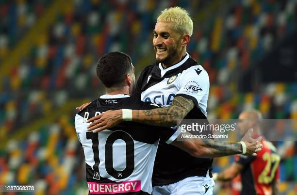 Rodrigo de Paul of Udinese Calcio celebrates after scoring the opening goal during the Serie A match between Udinese Calcio and Genoa CFC at Dacia...