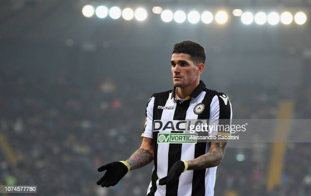 Rodrigo De Paul of Udinese Calcio gestures during the Serie A match between Udinese and Frosinone Calcio at Stadio Friuli on December 22 2018 in...