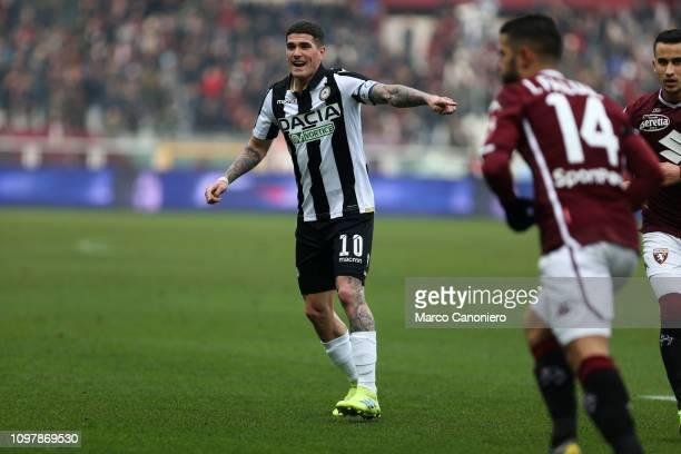Rodrigo de Paul of Udinese Calcio gestures during the Serie A football match between Torino Fc and Udinese Calcio. Torino Fc wins 1-0 over Udinese...