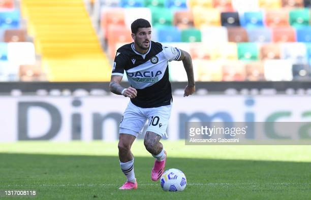 Rodrigo de Paul of Udinese Calcio in action during the Serie A match between Udinese Calcio and Bologna FC at Dacia Arena on May 08, 2021 in Udine,...