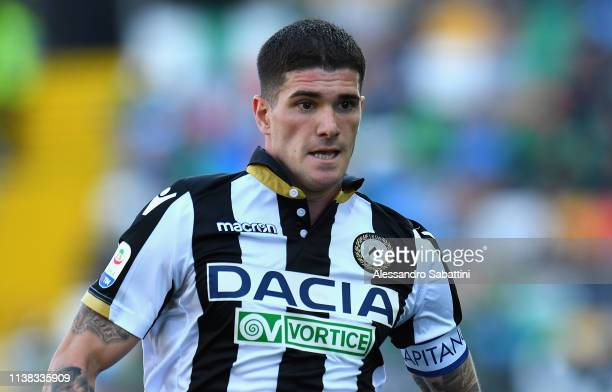 Rodrigo De Paul of Udinese Calcio looks on during the Serie A match between Udinese and US Sassuolo at Stadio Friuli on April 20 2019 in Udine Italy
