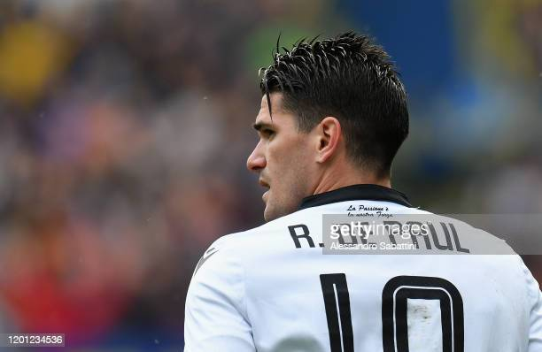 Rodrigo De Paul of Udinese Calcio looks on during the Serie A match between Udinese Calcio and Hellas Verona at Stadio Friuli on February 16, 2020 in...
