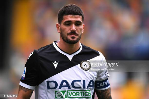 Rodrigo De Paul of Udinese Calcio looks on during the Serie A match between Udinese Calcio and UC Sampdoria at Dacia Arena on May 16, 2021 in Udine,...