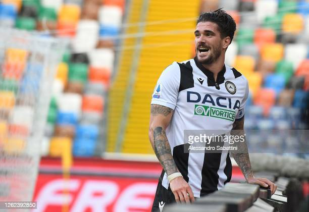 Rodrigo De Paul of Udinese Calcio reacts during the Serie A match between Udinese Calcio and US Lecce at Stadio Friuli on July 29, 2020 in Udine,...