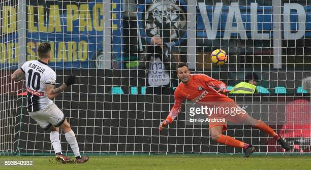 Rodrigo De Paul of Udinese Calcio scores on a penalty kick during the Serie A match between FC Internazionale and Udinese Calcio at Stadio Giuseppe...
