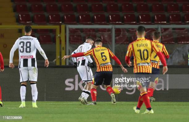 Rodrigo De Paul of Udinese scores his team's opening goal during the Serie A match between US Lecce and Udinese Calcio at Stadio Via del Mare on...