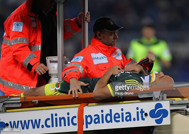 Rodrigo Dias Da Costa Alex of AC Milan is stretchered off injured during the Serie A match between SS Lazio and AC Milan at Stadio Olimpico on...