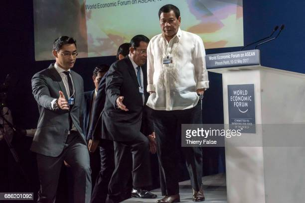 Rodrigo Duterte president of the Philippines arrives at the opening ceremony of the World Economic Forum on ASEAN organized in Phnom Penh in May 2017
