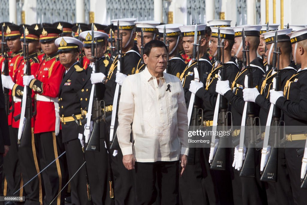Rodrigo Duterte, the Philippines' president, arrives ahead of a news conference at Government House in Bangkok, Thailand, on Tuesday, March 21, 2017. Duterte returns to the Philippines on March 22. Photographer: Brent Lewin/Bloomberg via Getty Images