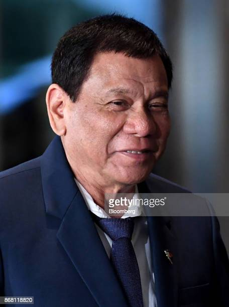 Rodrigo Duterte the Philippines' president arrives for a joint news conference with Japan's Prime Minister Shinzo Abe in Tokyo Japan on Oct 30 2017...