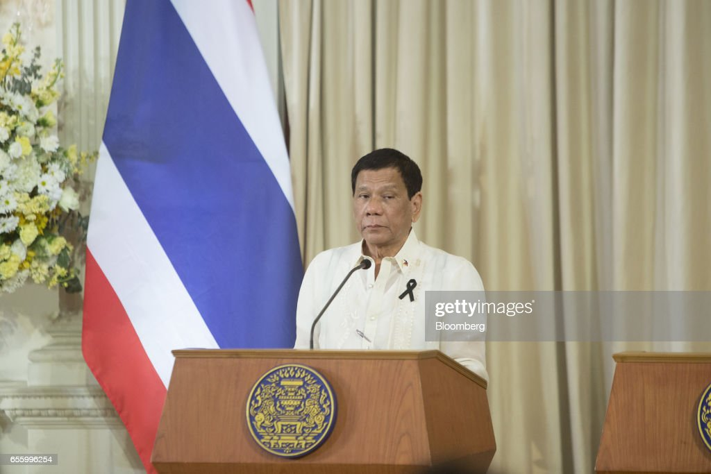 Rodrigo Duterte, the Philippines' president, pauses during a news conference at Government House in Bangkok, Thailand, on Tuesday, March 21, 2017. Duterte returns to the Philippines on March 22. Photographer: Brent Lewin/Bloomberg via Getty Images
