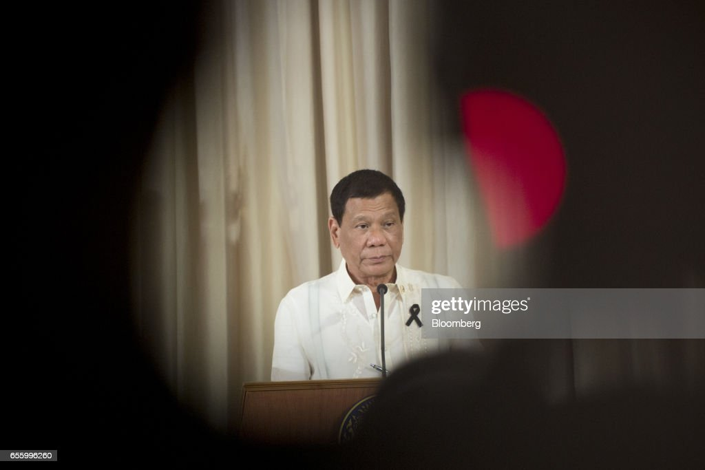 Rodrigo Duterte, the Philippines' president, speaks during a news conference at Government House in Bangkok, Thailand, on Tuesday, March 21, 2017. Duterte returns to the Philippines on March 22. Photographer: Brent Lewin/Bloomberg via Getty Images