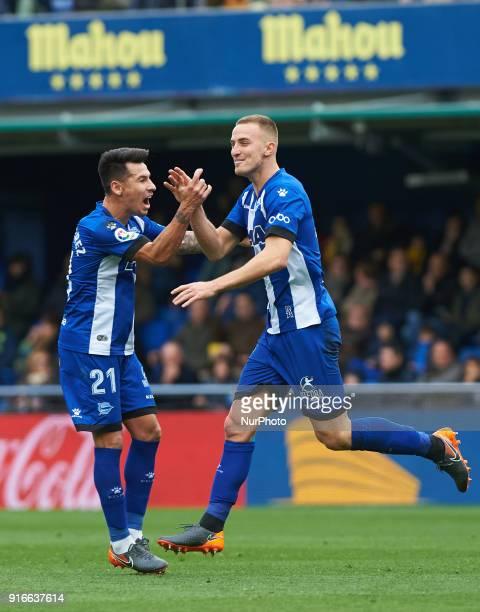 Rodrigo Ely and Hernan Perez of Club Deportivo Alaves celebrates a goal during the La Liga match between Villarreal CF and Club Deportivo Alaves at...