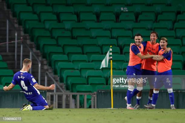 Rodrigo Ely celebrates scoring his side's 2nd goal in the 76th minute during the Liga match between Real Betis Balompie and Deportivo Alaves at...