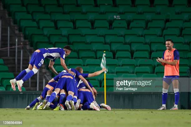 Rodrigo Ely celebrates scoring his side's 2nd goal in the 76th minute with his teammates during the Liga match between Real Betis Balompie and...