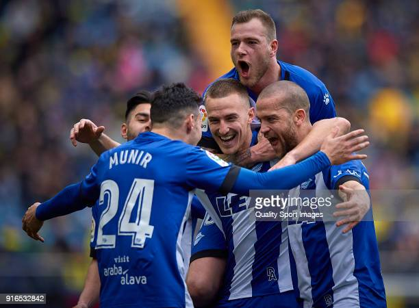 Rodrigo Ely of Deportivo Alaves celebrates with his teammates after scoring the first goal during the La Liga match between Villarreal and Deportivo...