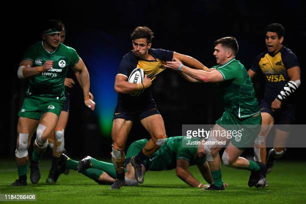 Rodrigo Etchart of Argentina is tackled by Harry Mcnulty of Ireland during the Rugby X final at The O2 Arena on October 29 2019 in London England