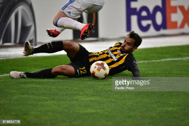 OACA 'SPIROS LOUIS' ATHENS ATTIKI GREECE Rodrigo Galo of AEK stops the ball during the match After an exciting football match AEK and Dynamo Kyiv...