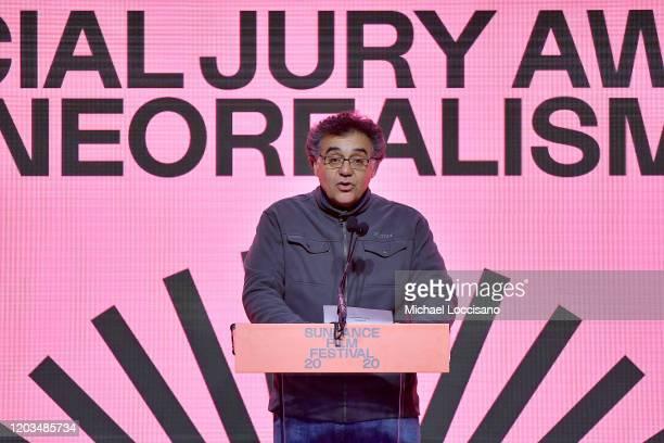 Rodrigo Garcia speaks onstage during the 2020 Sundance Film Festival Awards Night Ceremony at Basin Recreation Field House on February 01 2020 in...
