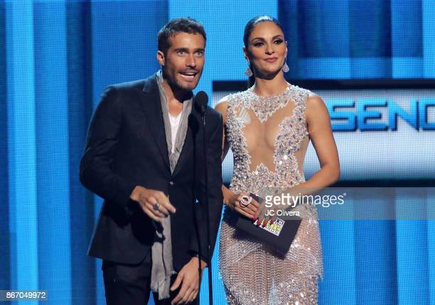 Rodrigo Guirao and Ana Jurka speak onstage during the 2017 Latin American Music Awards at Dolby Theatre on October 26 2017 in Hollywood California