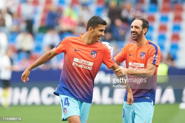 Rodrigo Hernandez and Juanfran Torres of Atletico de Madrid prior the La Liga match between Levante and Atletico de Madrid at Estadio Ciutat de...