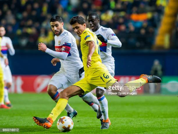 Rodrigo Hernandez Cascante Rodri of Villarreal CF battles for the ball with Nabil Fekir Ferland Mendy of Olympique Lyon during the UEFA Europa League...