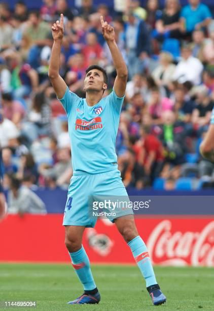 Rodrigo Hernandez of Atletico de Madrid celebrates a goal during the La Liga match between Levante and Atletico de Madrid at Estadio Ciutat de...