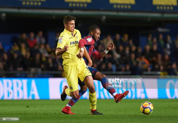 Rodrigo Hernandez of Villarreal CF and Cheick Doukoure of Levante Union Deportiva during the La Liga match between Villarreal CF and Levante Union...